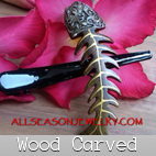 wooden carved hair accessories
