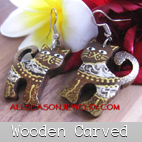 hand carved earrings wooden