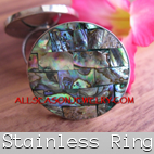 stainless rings with abalone shells