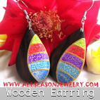 wooden earrings handmade organic